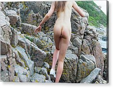 Running Nude Girl On Rocks Acrylic Print