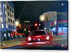 Running The Red Light Acrylic Print by Victoria Heryet
