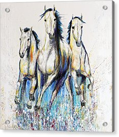 Running With The Herd Horse Painting Acrylic Print