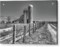 Rural America 2 Barn And Silos Tennessee Acrylic Print by Reid Callaway
