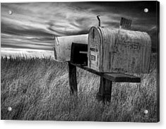 Rural Mailboxes In Black And White On The Prairie Acrylic Print by Randall Nyhof