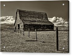Rural Montana Barn In Sepia Acrylic Print by Mark Kiver