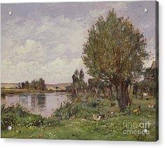 Rural River Scene, 1875 Acrylic Print