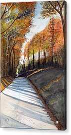Acrylic Print featuring the painting Rural Route In Autumn by Katherine Miller