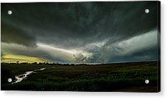 Rural Spring Storm Over Chester Nebraska Acrylic Print