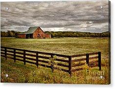 Rural Tennessee Red Barn Acrylic Print by Cheryl Davis