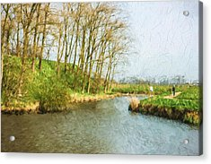 Rural Winter Landscape - Painterly Acrylic Print by Pati Photography