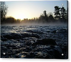 Rushing Water In Missississippi River Acrylic Print by Kent Lorentzen