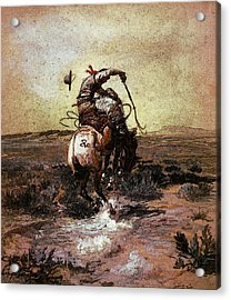 Russell Charles Marion A Slick Rider Acrylic Print by Charles Marion Russell