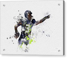 Russell Wilson Acrylic Print by Rebecca Jenkins