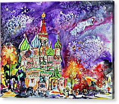 Russia Saint Basil Cathedral Watercolor And Ink Painting Acrylic Print
