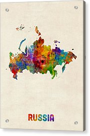 Russia Watercolor Map Acrylic Print by Michael Tompsett