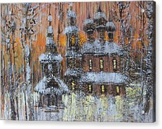Russian Church Under Snow Acrylic Print