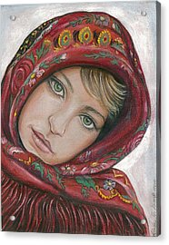 Russian Girl Acrylic Print by Linda Nielsen