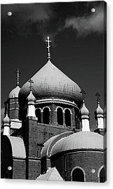 Russian Orthodox Church Bw Acrylic Print by Karol Livote