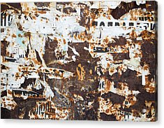 Acrylic Print featuring the photograph Rust And Torn Paper Posters by John Williams