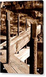 Rust And Wood Acrylic Print by Caroline Clark