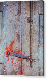 Rusted Iron Door Handle Acrylic Print by David Letts