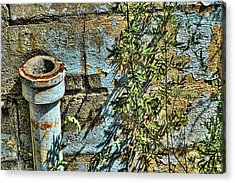 Rusted Pipe With Leaves Acrylic Print by Mike McCool
