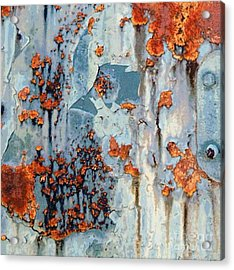 Rusted World - Orange And Blue - Abstract Acrylic Print by Janine Riley