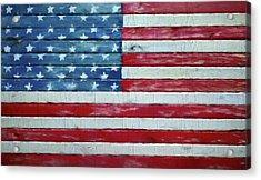 Rustic American Flag On Wood Acrylic Print