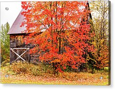 Acrylic Print featuring the photograph Rustic Barn In Fall Colors by Jeff Folger