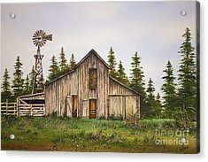 Acrylic Print featuring the painting Rustic Barn by James Williamson