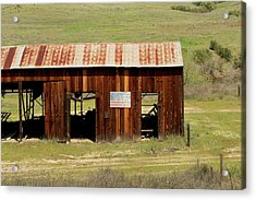 Acrylic Print featuring the photograph Rustic Barn With Flag by Art Block Collections