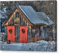 Rustic Barn With Flag In Snow Acrylic Print