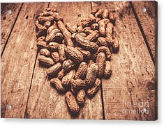 Rustic Country Peanut Heart. Natural Foods Acrylic Print by Jorgo Photography - Wall Art Gallery