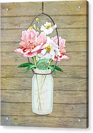 Rustic Country Peony N Poppy Mason Jar Bouquet On Wooden Fence Acrylic Print