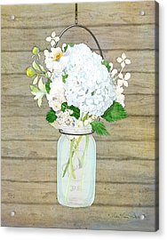 Rustic Country White Hydrangea N Matillija Poppy Mason Jar Bouquet On Wooden Fence Acrylic Print