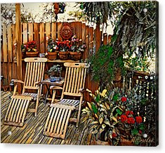Acrylic Print featuring the digital art Rustic Deck by Pennie McCracken