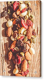 Rustic Dried Fruit And Nut Mix Acrylic Print by Jorgo Photography - Wall Art Gallery