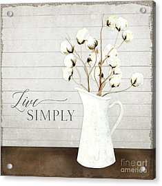 Rustic Farmhouse Cotton Boll Milk Pitcher Live Simply Acrylic Print