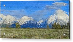 Rustic Grand Teton Range On Wood Acrylic Print by Dan Sproul