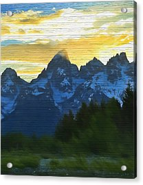 Rustic Grand Teton Sunset Acrylic Print