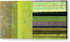 Acrylic Print featuring the painting Rustic Green Flag With Stripes by Michelle Calkins