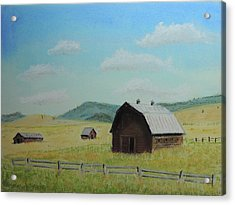 Rustic Montana Barn Acrylic Print by Jayne Wilson