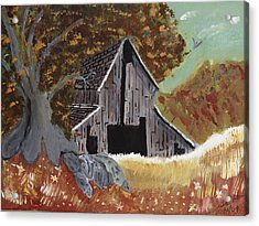 Acrylic Print featuring the painting Rustic Old Barn by Swabby Soileau