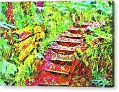 Acrylic Print featuring the digital art Rustic Step Path Through The Woods - Tamalpais California by Joel Bruce Wallach