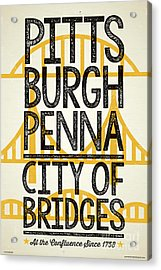 Rustic Style Pittsburgh Poster Acrylic Print