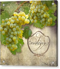 Rustic Vineyard - Chardonnay White Wine Grapes Vintage Style Acrylic Print by Audrey Jeanne Roberts