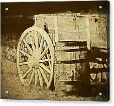 Rustic Wagon And Barrel Acrylic Print by Tom Mc Nemar