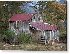 Acrylic Print featuring the photograph Rustic Weathered Hillside Barn by John Stephens