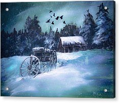 Rustic Winter Barn  Acrylic Print by Michele Carter