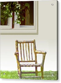 Rustic Wooden Rocking Chair Acrylic Print