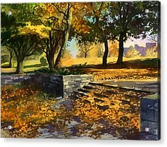 Acrylic Print featuring the painting Rustling Of Autumn Leaves by Sergey Zhiboedov