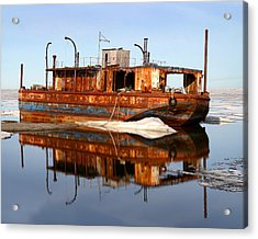 Rusty Barge Acrylic Print by Anthony Jones
