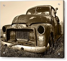 Rusty But Trusty Old Gmc Pickup Truck - Sepia Acrylic Print